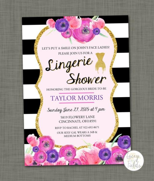 Lingerie Shower Invitation Gold Black And White Vintage Lingerie ...