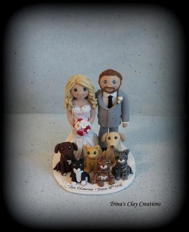 Wedding Cake Topper Custom Cake Topper Cat Dog Bride