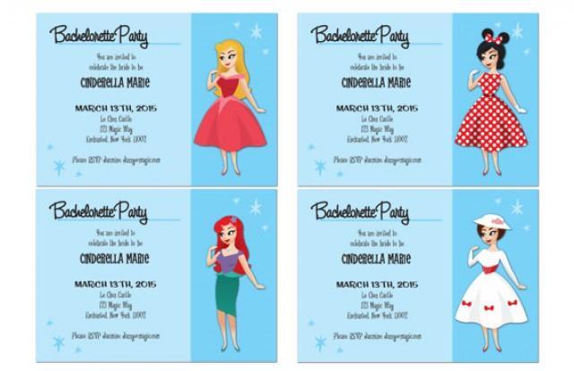 vintage disney gal bachelorette party invitation digital 5 by 7