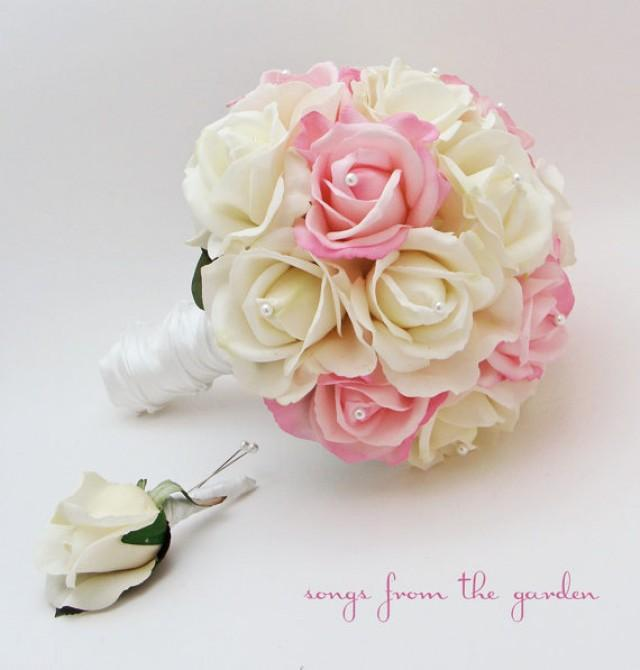 Rose Bridal Bouquet Real Touch Roses White Light Pink Wedding