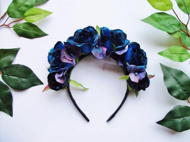 blue rose hydrangea flower crown rose crown wedding bridesmaid festival floral crown headband halloween day of the dead 2347672 weddbook