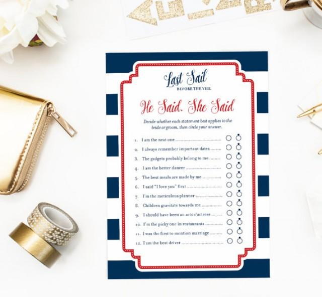 he said she said game nautical bridal shower printable game couples shower last sail before the veil according to groom and bride 2347733 weddbook