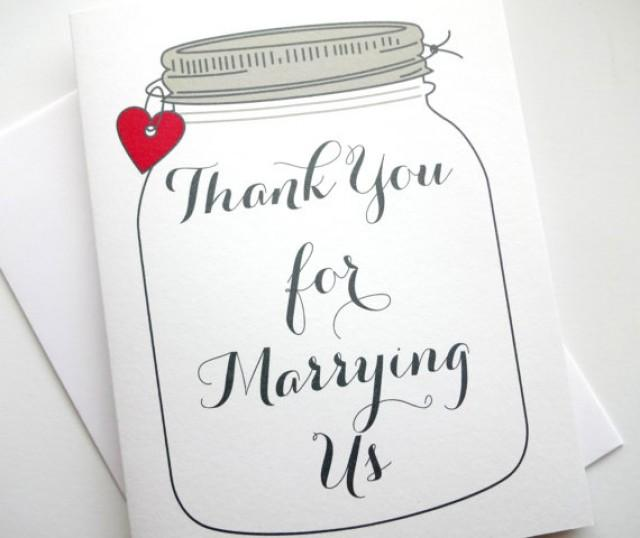 Wedding Officiant Minister Thank You Card With Heart