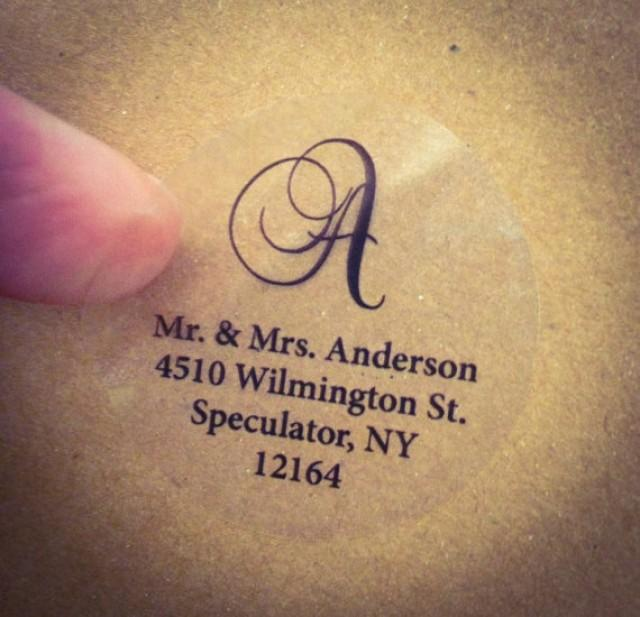 clear script monogram address labels for wedding invitation  thank you note envelope seals