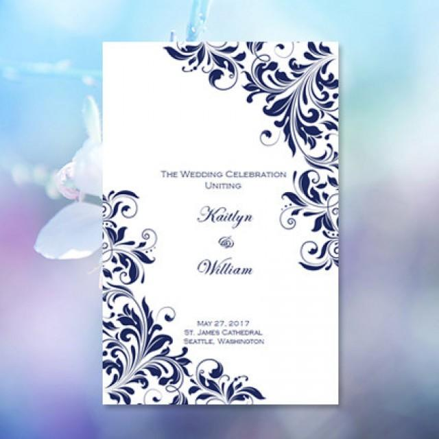 Catholic Church Wedding Program Kaitlyn Navy Blue 85 X 11 Fold Worddoc Template Instant Download ALL COLORS Available DIY U Print 2348347