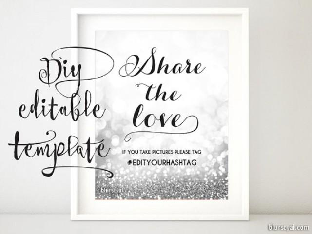 Printable hashtag sign template diy wedding hashtag sign share the love sign glitter silver for Wedding signs templates
