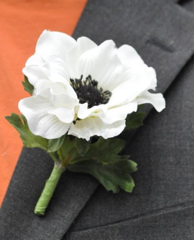 Wedding Flowers, White Silk Anemone With Black Center Boutonniere ...