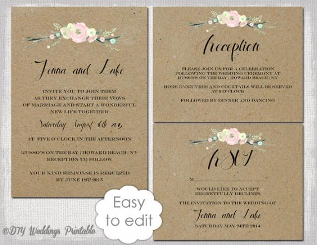 rustic wedding invitation templates diy rustic flowers printable wedding invitation template suite kraft white editable digital download 2348894
