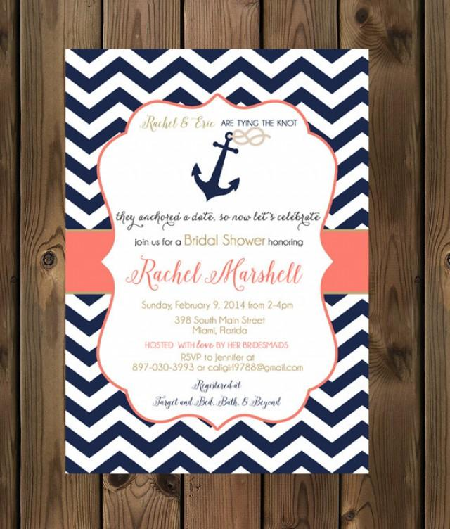 Navy And Coral Wedding Shower Invitations - Nautical Bridal Shower ...