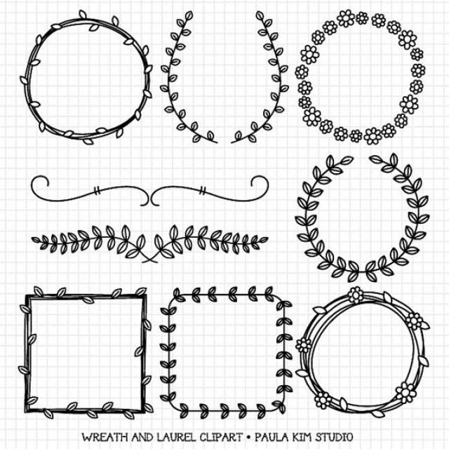 Wedding Graphics: Wreaths And Laurel Clipart Graphics, Borders And Frames