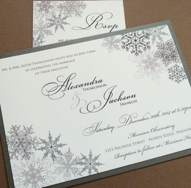 lacy snowflake winter wedding invitations december january