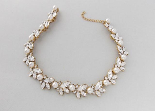 Wedding Necklace Gold Bridal Necklace Swarovski