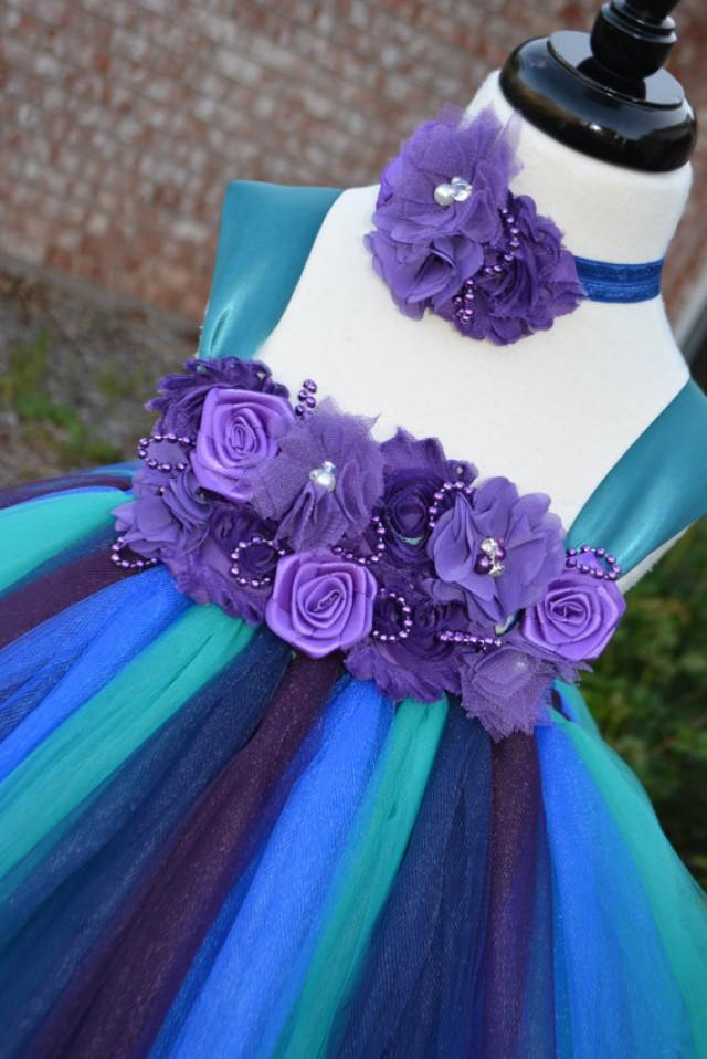 Peacock Color Dress Without Feather Peacock Teal Tutu
