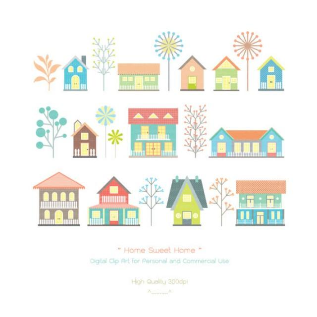 Home Sweet Home Digital Clip Art Houses Clip Art