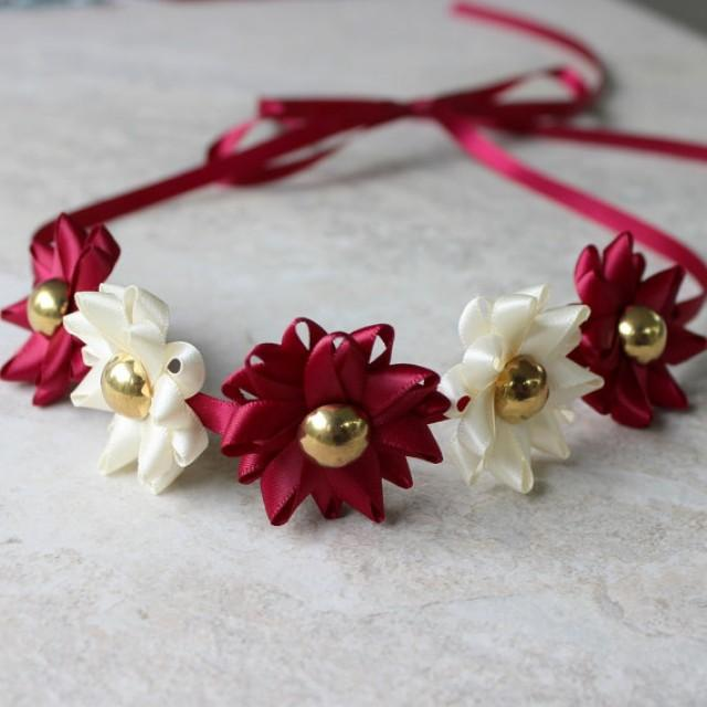 ribbon flower headband choose your colors burgundy headband