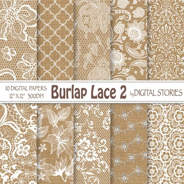 Burlap Lace Wedding Digital Paper Burlap Lace 2 White Wedding