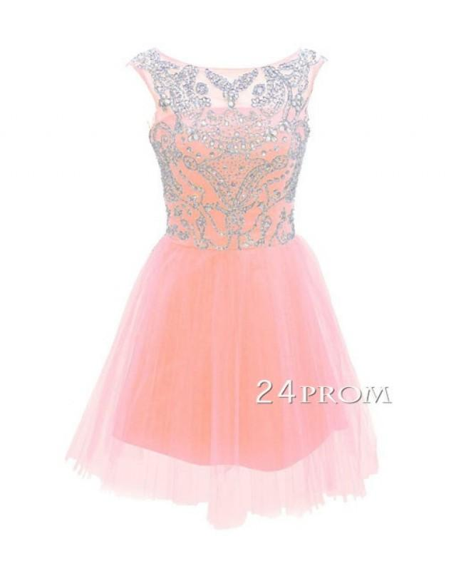 109b017a592 Pink A-line Round Neck Tulle Short Prom Dress