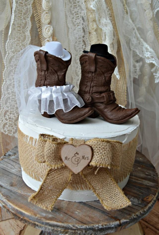 Western Cowboy Boots Wedding Cake Topper Western Wedding