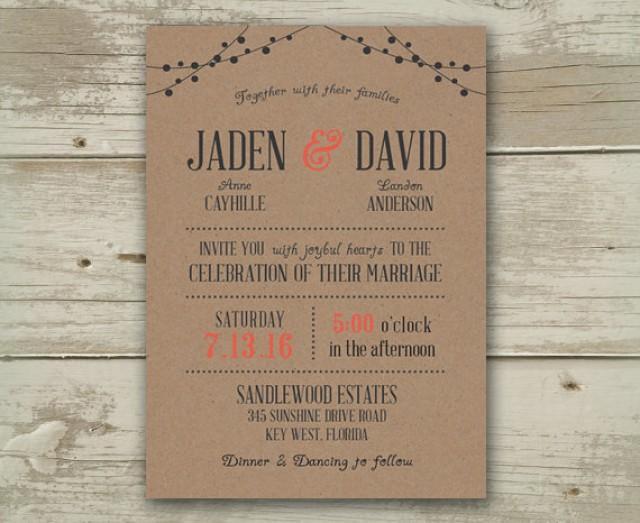 Wedding Invitation Invitations Invite Invites Announcement Announcements  Burgundy Grey Navy Mint Blue Aqua Coral Peach Pink Beach Country #2351143    ...