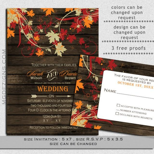 Printable Rustic Barnwood Fall Leaves Wedding Invitations And Rsvp Template 2351245 Weddbook