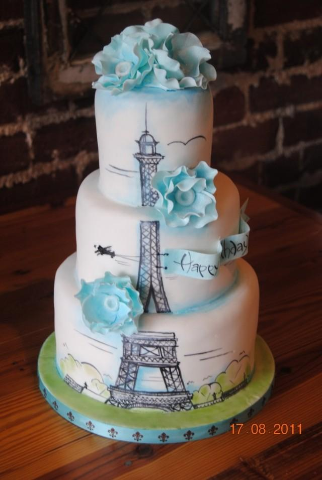 Wedding Theme Paris Birthday Cake Birthday Cakes 2351363 Weddbook