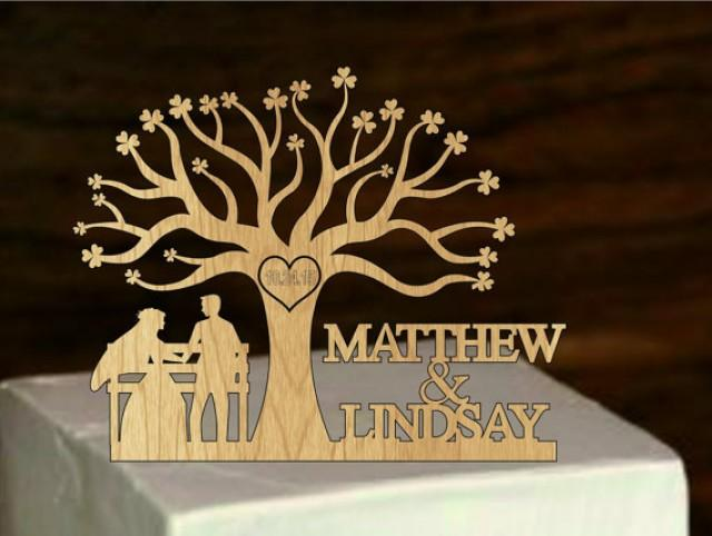 Wedding Cake Topper Silhouette And Custom Mr & Mrs