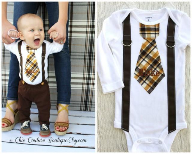 9b97c1a95 Baby Boy Personalized Tie and Suspenders Bodysuit. Birthday Outfit Cake  Smash Winter Wedding Ring Bearer Suspender Fall Thanksgiving Plaid