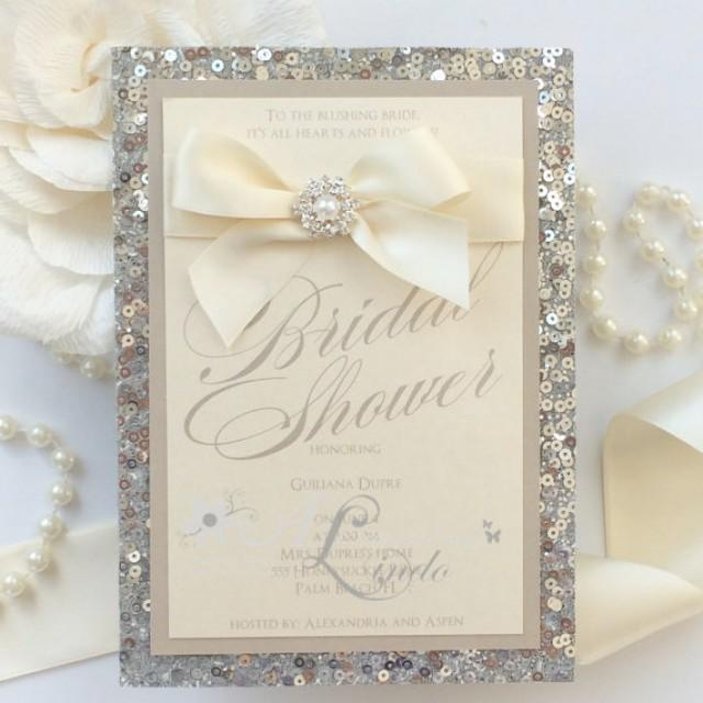 silver sequins nude pearls and bling bridal shower invitation 2352478 weddbook