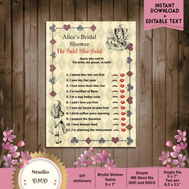 He Said She Said Printable Bridal Shower Game Alice In Wonderland