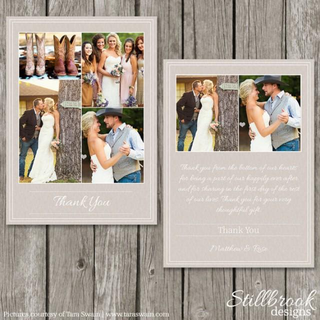 Wedding Thank You Card Template Personalized Photo Thank