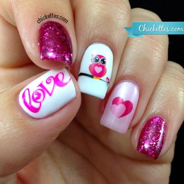 "Owl Love"" Nail Art With Water Decals (Chickettes) #2353111 - Weddbook"