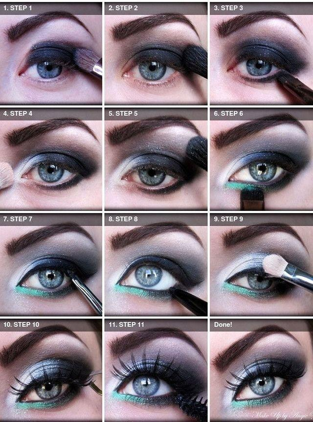 Makeup for blue eyes step by step