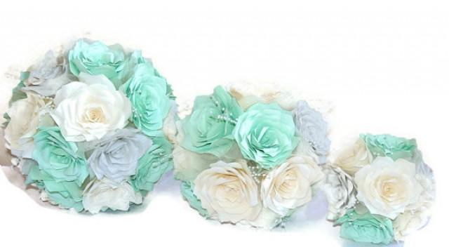 Bridal Bouquet Mint Green Silver And Ivory Elegant Paper