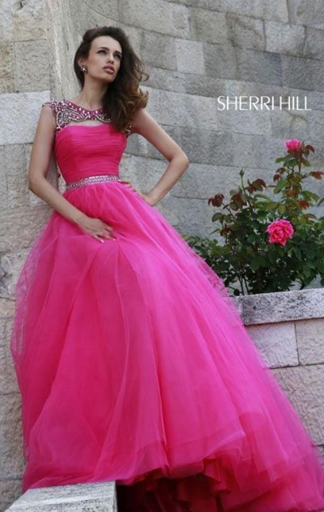 Sherri Hill 11177 Scoop Neck 2015 Hot Pink Beaded Long
