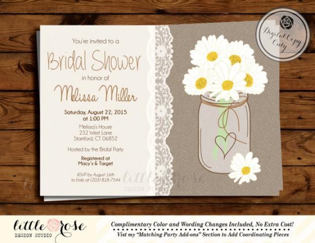 Daisy Mason Jar Bridal Shower Invitation Country Wedding Baby Invite Daisies And Lace Digital Printable
