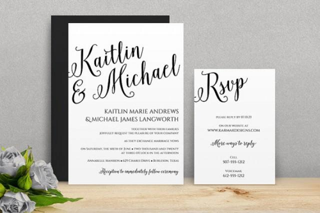 Wedding Invitation Sms Format: You Can Change The Color! DiY Wedding Invitation Template