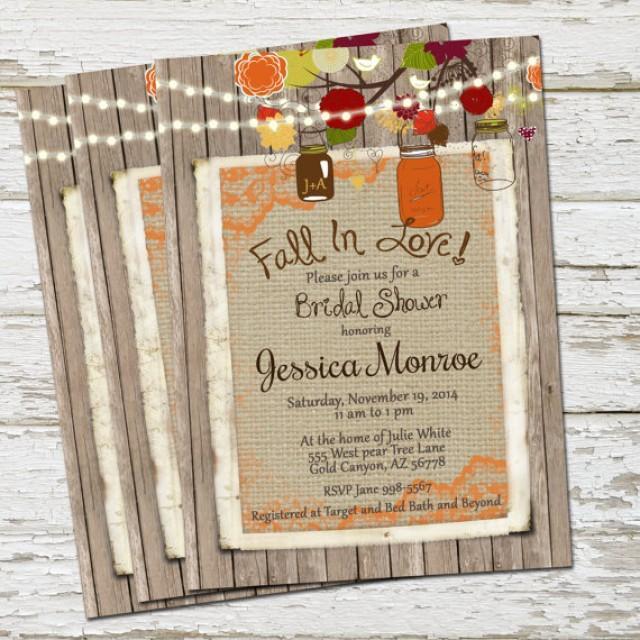 fall rustic bridal shower invitation burlap and lace mason jar lights digital file printable 5x7 2353466 weddbook