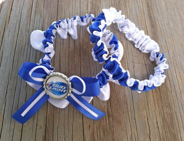 Bud Light White Royal Blue Bridal Satin Wedding Garter Keepsake Or Set Beer Something 2353579 Weddbook
