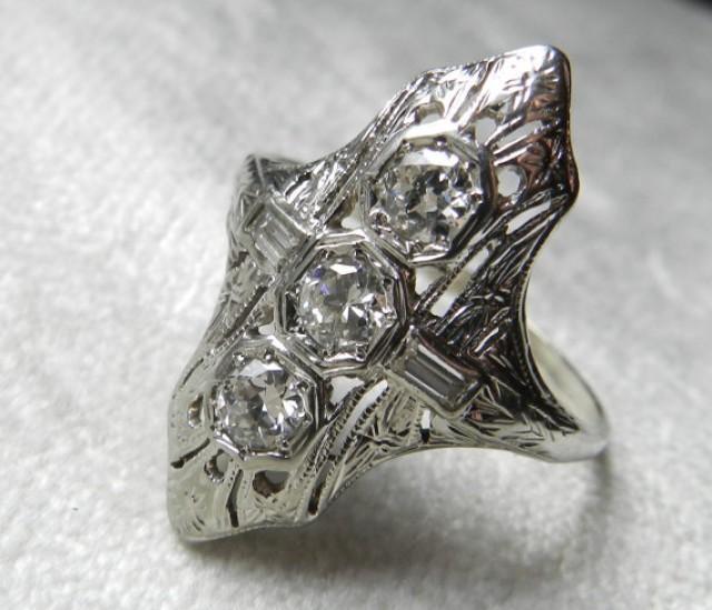 Antique Engagement Ring 1 Ct 1920s Platinum Engagement