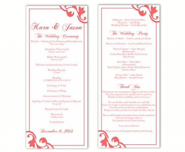 wedding program template diy editable text word file
