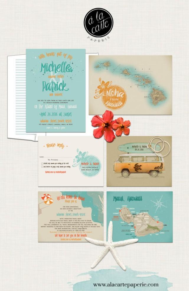 orange and turquoise wedding invitations. hawaii wedding invitation maui - retro bus surfboard vintage map aloha- turquoise blue orange colors deposit payment #2354028 weddbook and invitations
