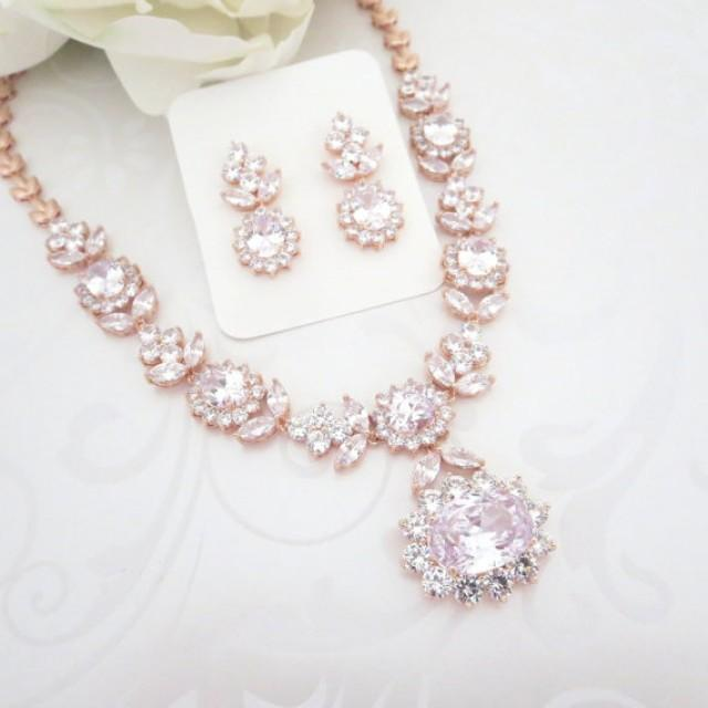 Rose Gold Statement Necklace Rose Gold Bridal Necklace Set Wedding Jewelry Set Crystal Necklace Crystal Earrings Bridal Jewelry 2354150 Weddbook