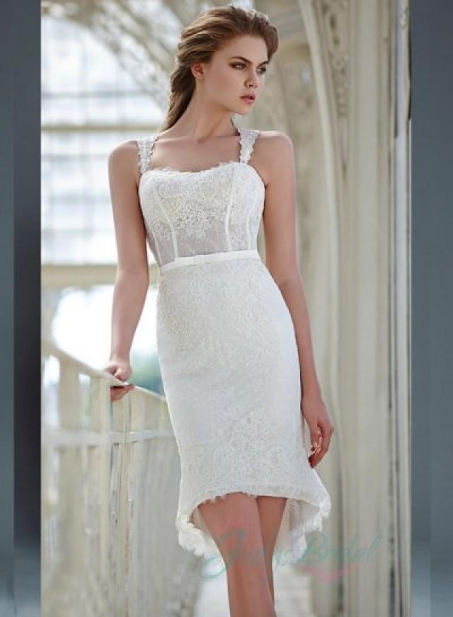 JW16063 Sexy Lace Strappy Sheer Dot Tulle Back Short Wedding Dress 2354292