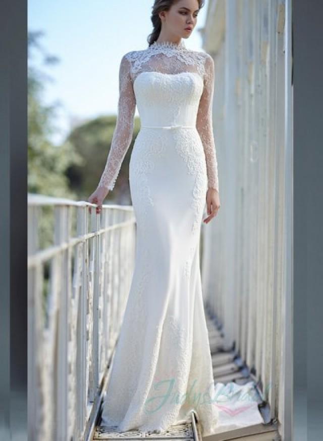 Jw16062 Glamorous Illusion Lace High Neck Long Sleeves Sheath
