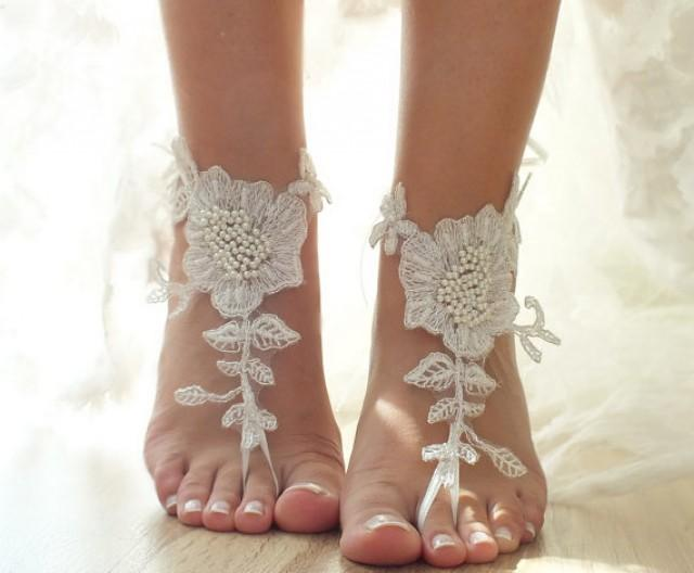 Ivory Beach Wedding Barefoot Sandals, Floral Lace Sandals
