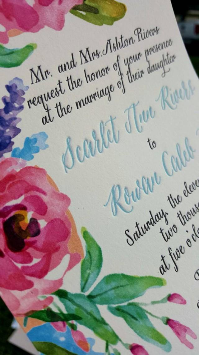 Watercolor Wedding Invitations For Rustic Garden Wedding ...