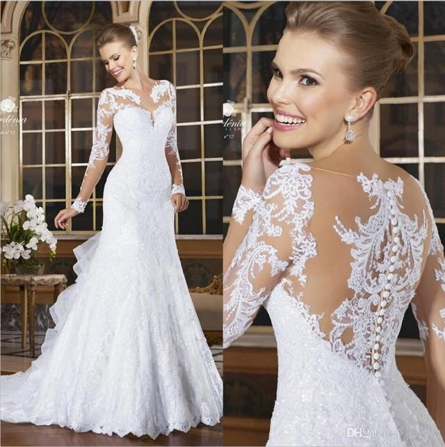 2015 romantic sexy mermaid wedding dresses lace appliqued for Lace button back wedding dress