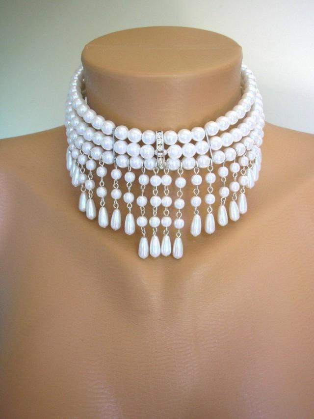White Pearl Choker Bridal Necklace Great Gatsby Bridal