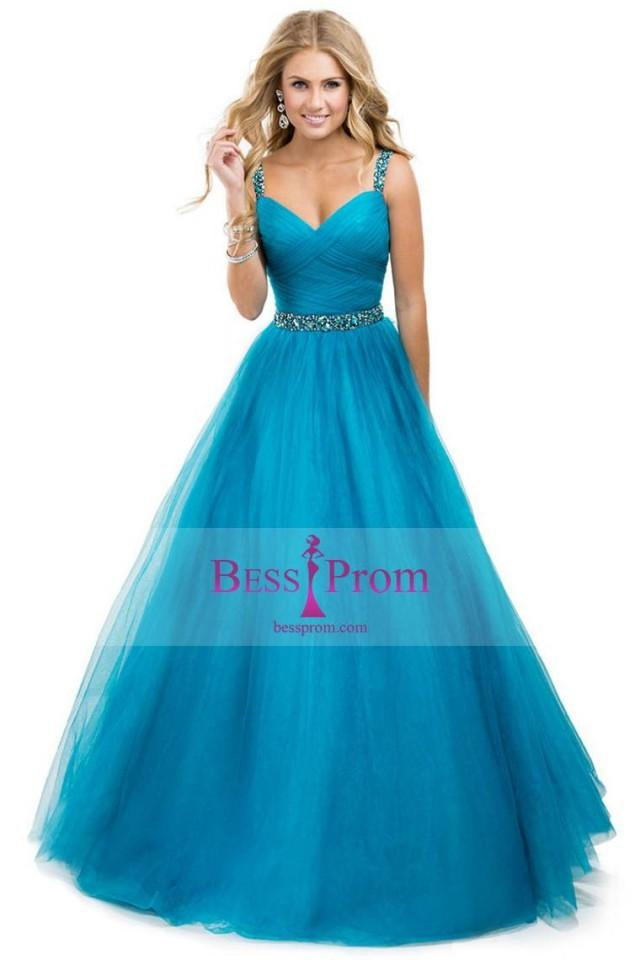 Yellow Ball Gown Straps Jeweled Tulle Prom Dress ...
