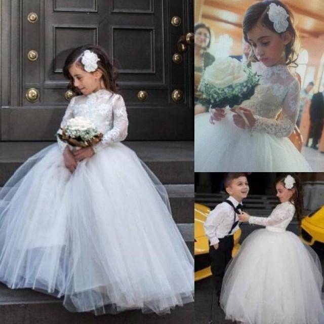 02ce6389d01 2015 New Lovely Lace Applique High Neck Wedding Flower Girl Dresses Ball  Gown Little Girl Birdal Dress Floor Length Princess Girl Dresses Online  With ...